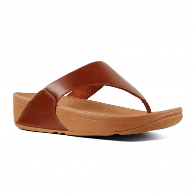 8ce2fd3927008f FitFlop™ LULU™ Ladies Leather Comfy Toe Post Sandals Caramel