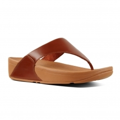 FitFlop™ LULU™ Ladies Leather Toe Post Sandals Caramel