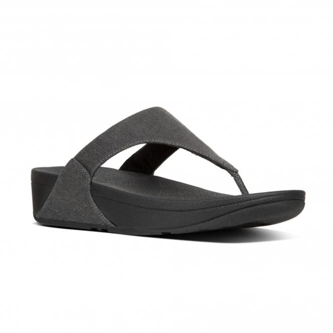 b3b4bc88f FitFlop™ LULU™ Ladies Shimmer Denim Mule Slip On Sandals Black