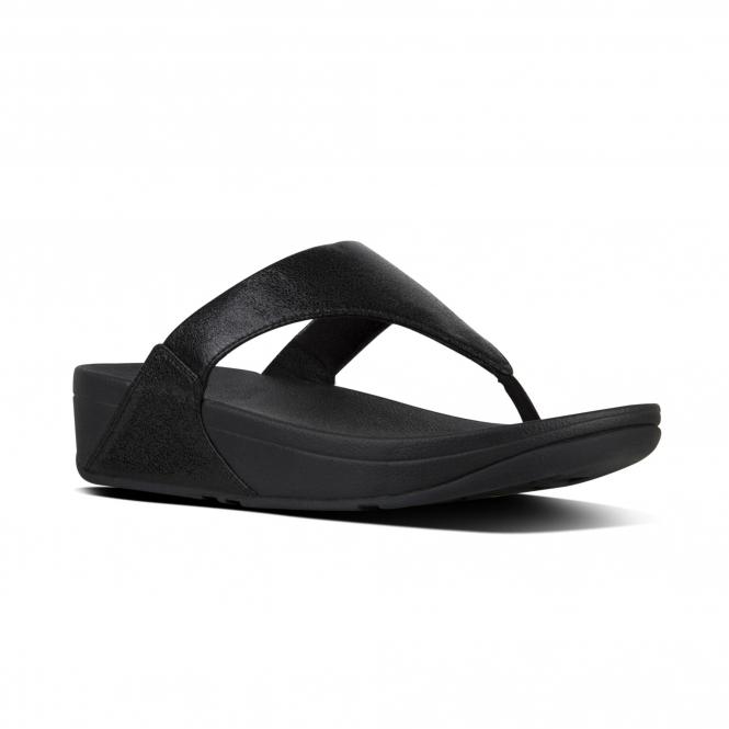 ed836d99fec33 FitFlop LULU MOLTEN METAL O04-001 Toe Post Sandals Black