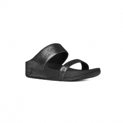 LULU SHIMMERSUEDE SLIDE™ Ladies Suede Mule Sandals Black