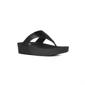 LULU SUPERGLITZ™ Ladies Shimmer Toe Post Sandals Black