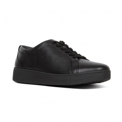 10e9747b7974d RALLY Ladies Leather Trainers All Black