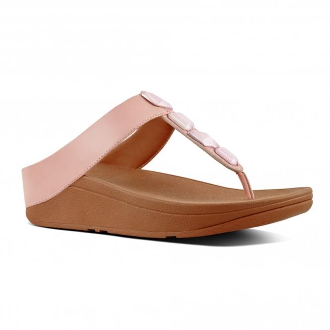 595d00776252 FitFlop™ ROKA™ Ladies Soft Leather Toe Post Sandals Dusky Pink
