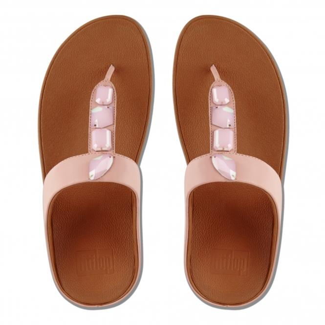 514af9e702b09 FitFlop™ ROKA™ Ladies Soft Leather Toe Post Sandals Dusky Pink