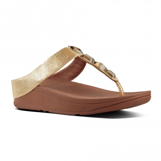 48b7bb9efb25f3 FitFlop™ ROKA™ Ladies Slip On Leather Toe Post Sandals Gold