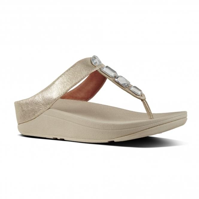 666d50d32105f FitFlop™ ROKA™ Ladies Slip On Leather Toe Post Sandals Silver