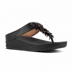 FitFlop™ RUMBA™ Ladies Leather Toe Post Sandals Black