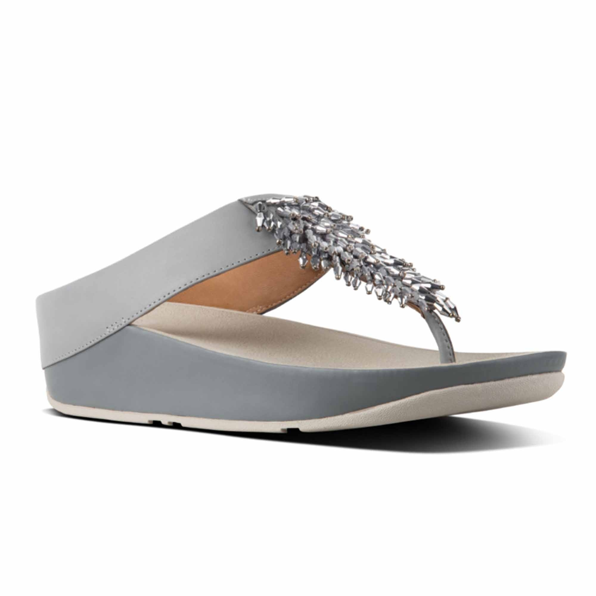 28399c15df58 FitFlop™ RUMBA™ Ladies Leather Toe Post Sandals Dove Blue