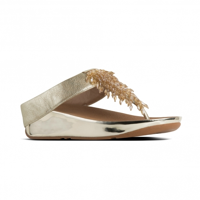 f6be9ffcc84831 FitFlop RUMBA M01-537 Toe Post Sandals Gold