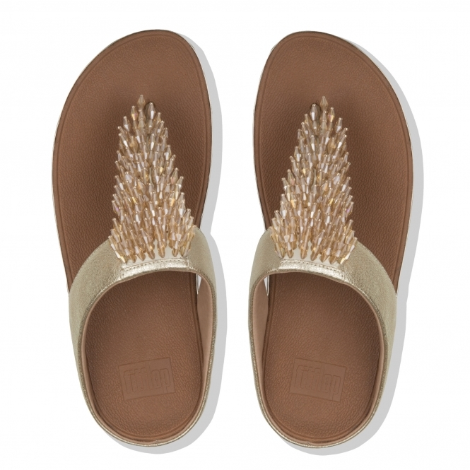 176b2c140 FitFlop™ RUMBA Ladies Leather Toe Post Sandals Gold