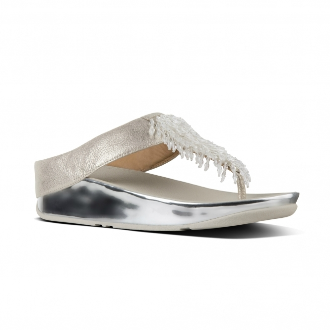 b750007331758a FitFlop RUMBA M01-527 Toe Post Sandals Silver