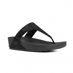 SHIMMY™ Ladies Suede Toe Post Sandals Black Glimmer