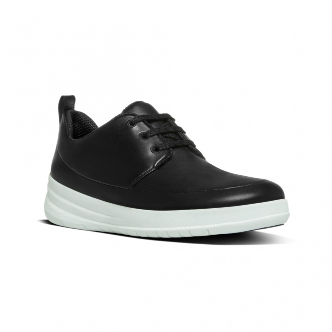 FitFlop™ SPORTY-POP™ Ladies Leather Lace Up Trainers Black