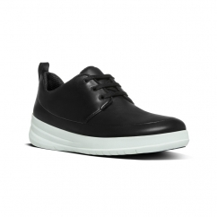 SPORTY-POP™ Ladies Leather Lace Up Trainers Black