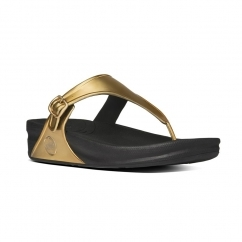 SUPERJELLY™ Ladies Rubber Toe Post Sandals Gold Mirror