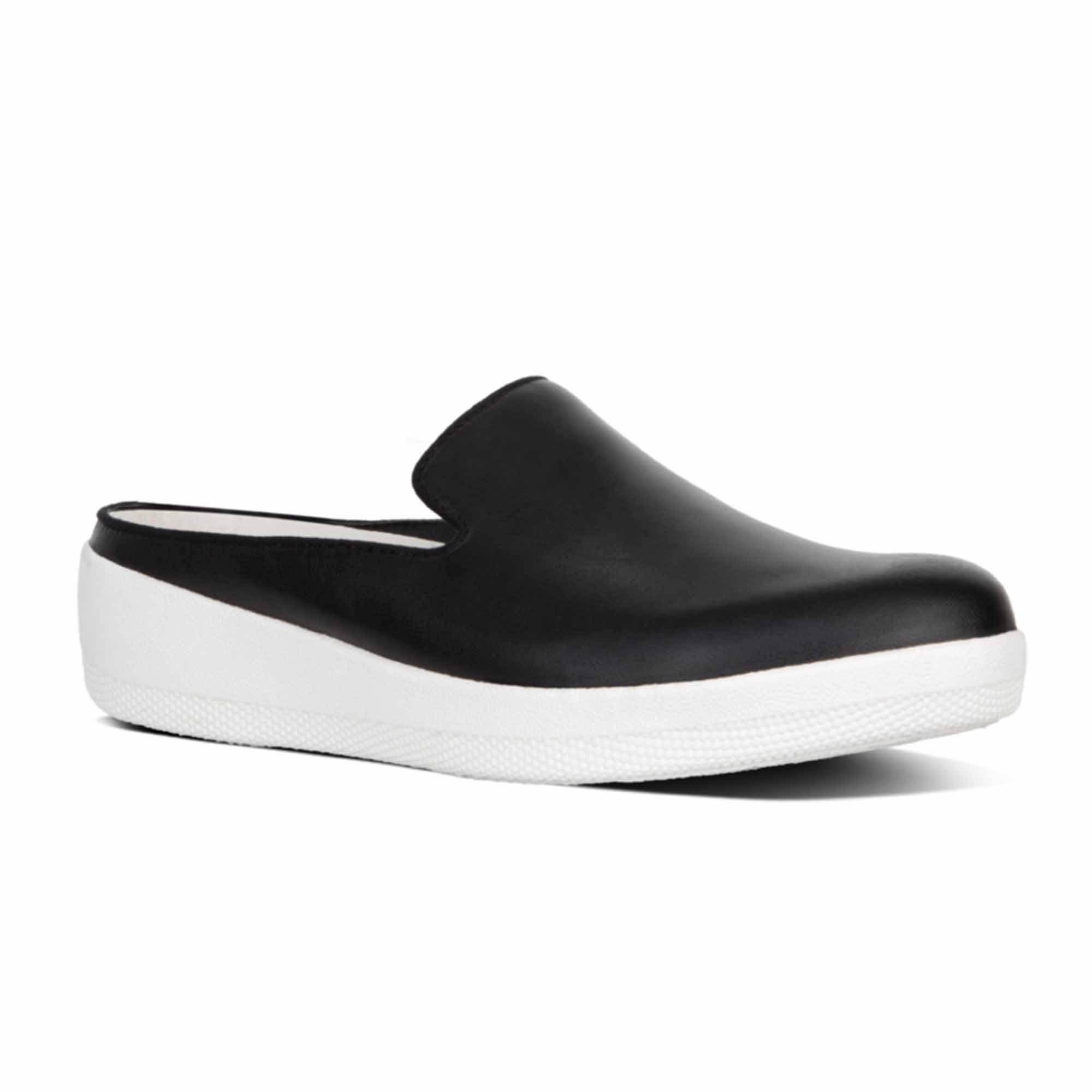 Ladies Real Leather Slip On Mule Black