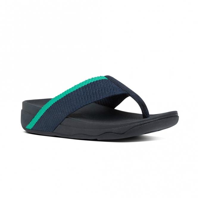 FitFlop™ SURFA™ (PRETTY) Ladies Toe Post Sandals Midnight Navy/Parakeet  Green