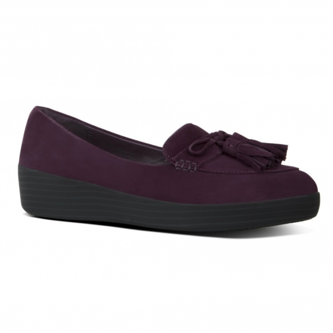 2d95246b0f0d FitFlop™ TASSEL BOW SNEAKERLOAFER™ Ladies Leather Loafers Plum