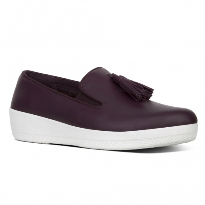 181f5b18fbc FitFlop™ TASSEL SUPERSKATE™ Ladies Leather Loafer Shoes Plum