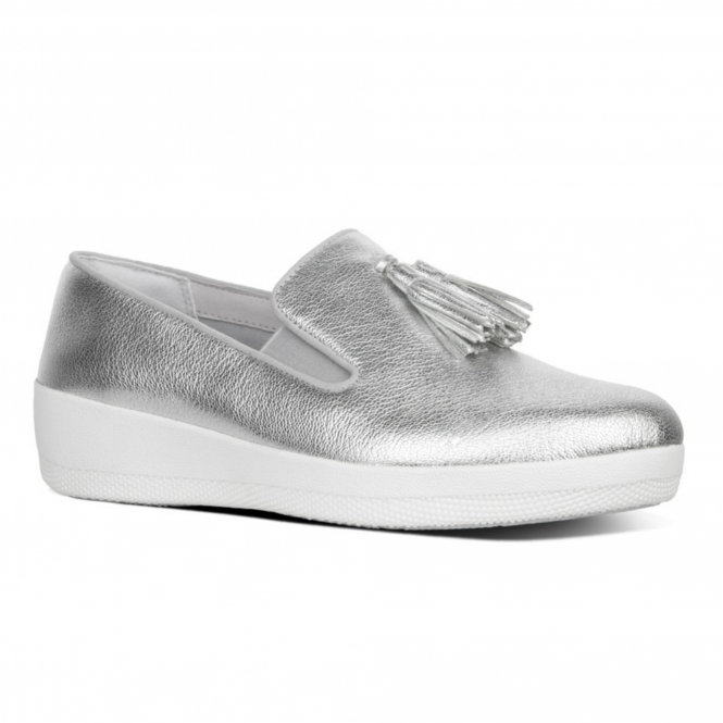 9fc623d87be FitFlop™ TASSEL SUPERSKATE™ Ladies Leather Loafer Shoes Silver