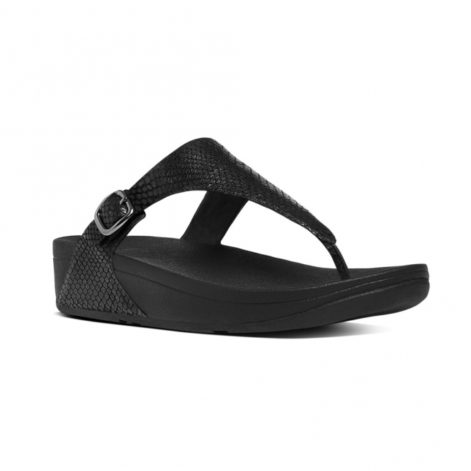 19428a1db34814 FitFlop™ THE SKINNY™ Ladies Leather Toe Post Snake Sandals Black