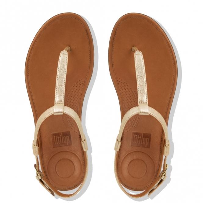 d438df82c7d FitFlop TIA Ladies Leather Toe Post Sandals Pale Gold
