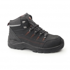 FLAME Mens S3 SRC WR Nubuck Safety Boots Black