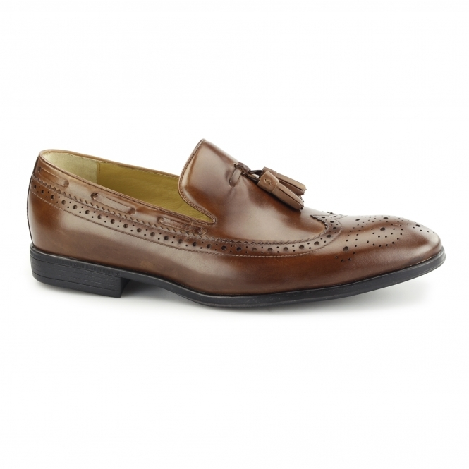 Steptronic FLECK Mens Leather Brogue Tassel Loafers Cognac