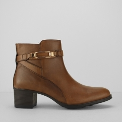 Fleet & Foster CANTERBURY Ladies Heeled Ankle Boots Tan | Shuperb