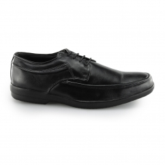 DAVE Mens Leather Derby Lace Up Shoes Black