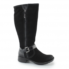 TOKYO Ladies Leather And Suede Knee High Boots Black