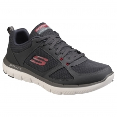 Skechers FLEX ADVANTAGE 2.0 - LINDMAN Mens Trainers Charcoal/Red | Shuperb