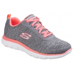 FLEX APPEAL 2.0 Ladies Lace Up Sports Trainers Grey/Coral