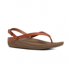 FLIP™ Ladies Leather Toe Post Slingback Sandals Dark Tan