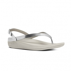 FLIP™ Ladies Leather Toe Post Slingback Sandals Silver Mirror