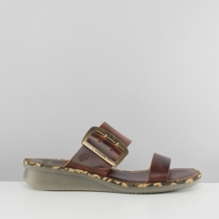CAPE205FLY Ladies Buckle Mule Wedge Sandals Brick