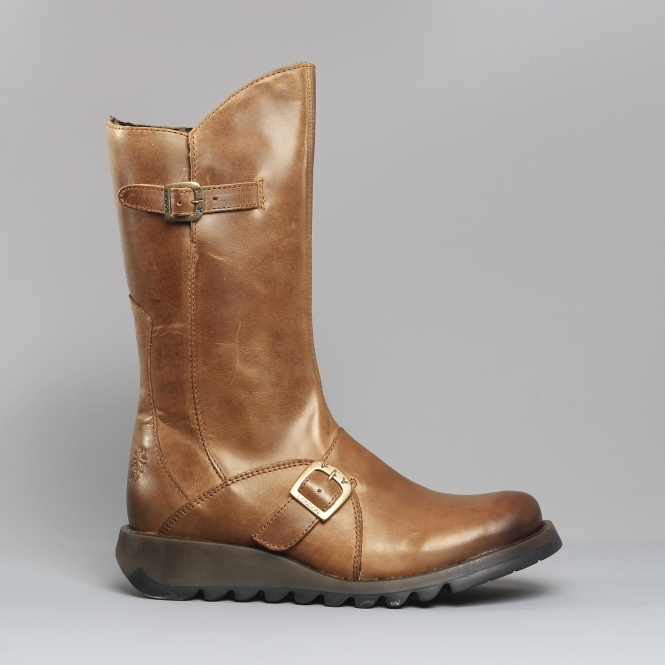 253af80c8e2 MES 2 Ladies Leather Mid Calf Boots Camel