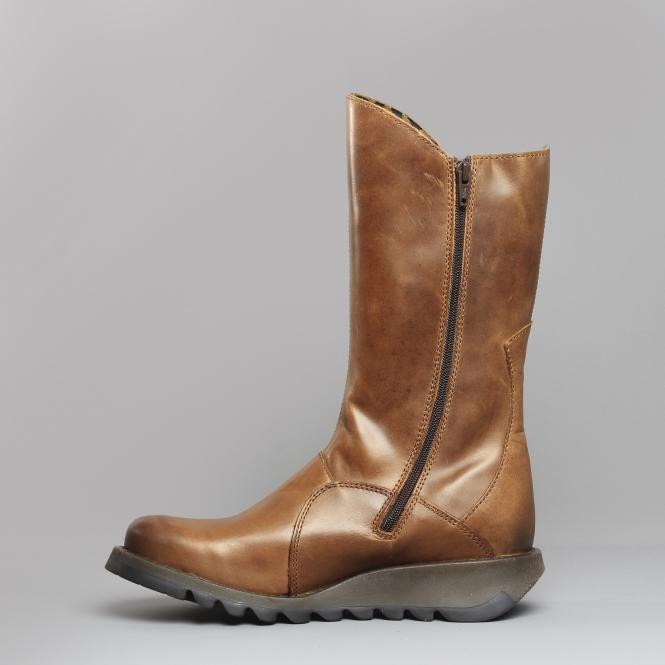 fa5e58e860934 Fly London MES 2 Leather Mid Calf Boots Camel | Shuperb