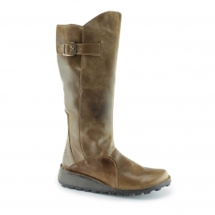 Fly London MOL Ladies Leather Wedge Mid Calf Boots Camel