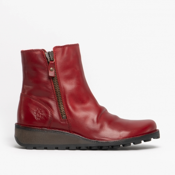 Leather Ankle Boots Red