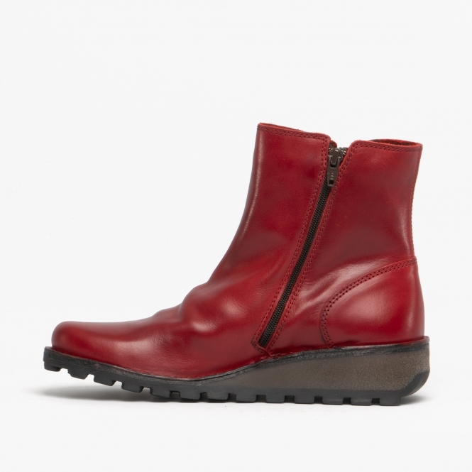 Fly London Mon944FLY Red Womens Ladies Leather Zip Up Wedge Ankle Boots
