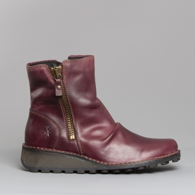 b37ea00c6 Fly London MONG944FLY Leather Ankle Boots Purple