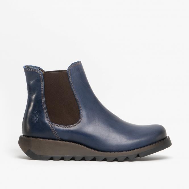 SALV Ladies Leather Wedge Heel Slip On Chelsea Boots Blue