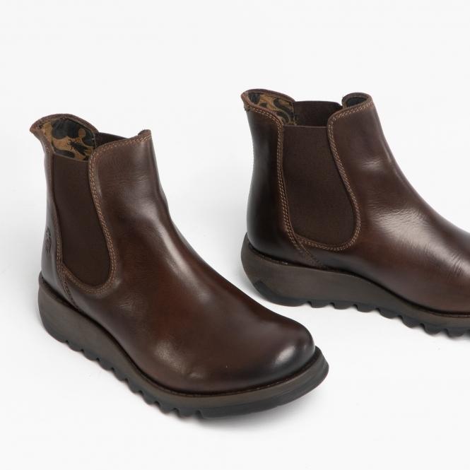 SALV Ladies Leather Wedge Heel Slip On Chelsea Boots Dark Brown