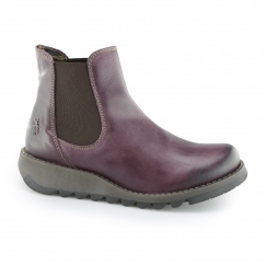 Fly London SALV Ladies Wedge Heel Slip On Purple Boot Camel