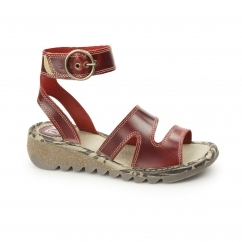 TILY Ladies Leather Buckle Heeled Sandals Red