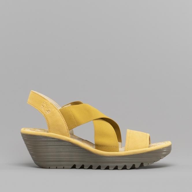 87e21a9dda81 Fly London YAJI888FLY Ladies Leather Wedge Sandals Bumblebee
