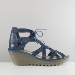 Fly London YELI719FLY Ladies Lace Up Gladiator Wedge Sandals Blue