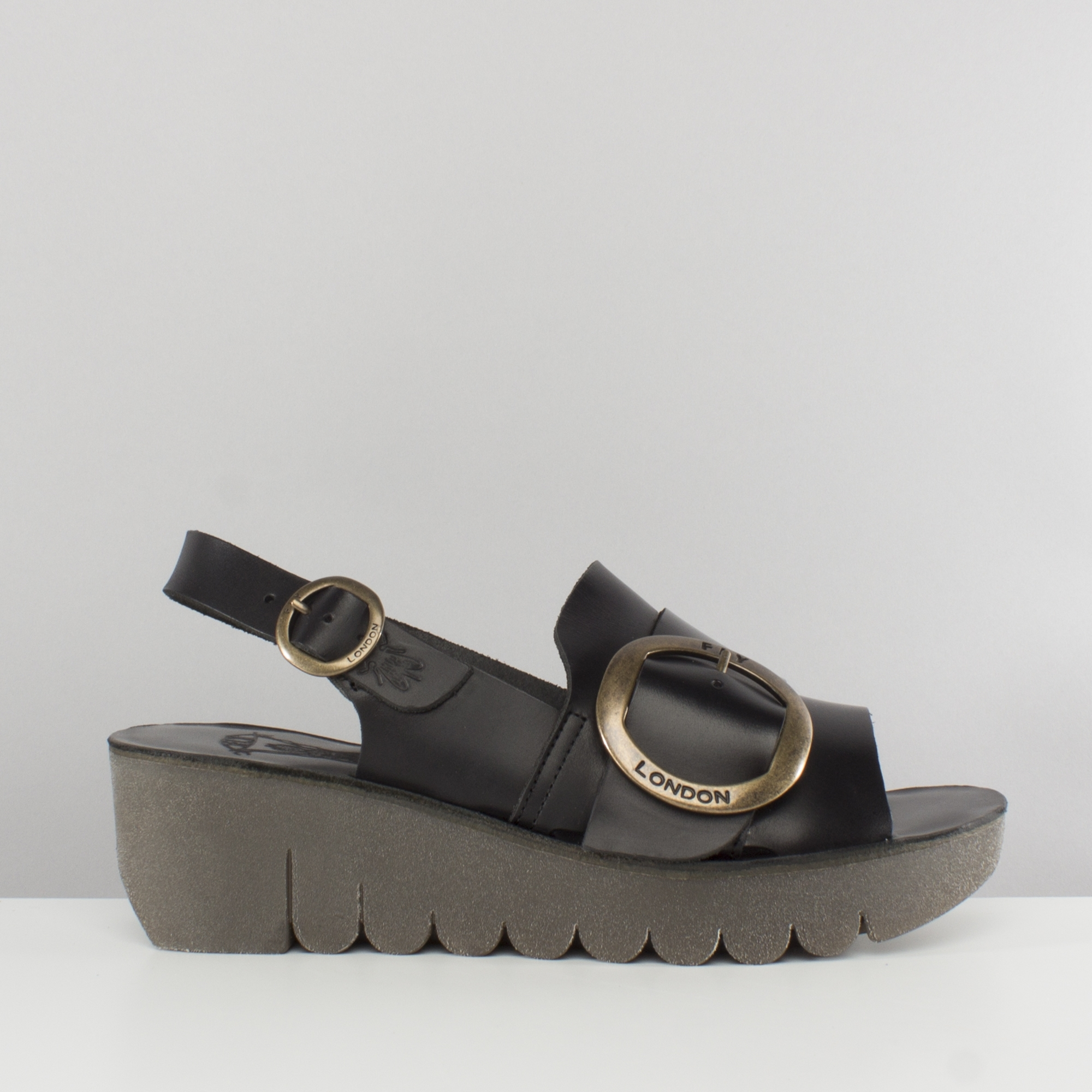 Yidi190fly Sandals Back Black Ladies London Sling Wedge Fly jVGLUMqpSz
